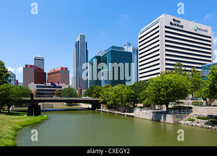 The city skyline from Gene Leahy Mall (also known as Central Park), Omaha, Nebraska, USA - Stock Photo