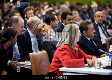 US President Barack Obama participates in a high level meeting on Libya at the United Nations September 20, 2011 - Stock Photo