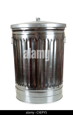 Silver metal aluminum trash can on a white background - Stock Photo
