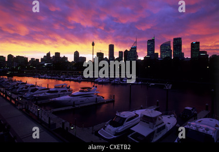 Sunset from Wooloomooloo Wharf, Syndey, New South Wales, Australia - Stock Photo