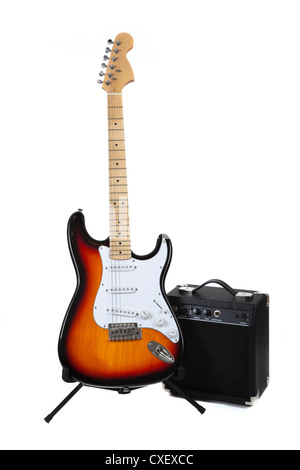 Electric guitar with an amplifier on a white background - Stock Photo