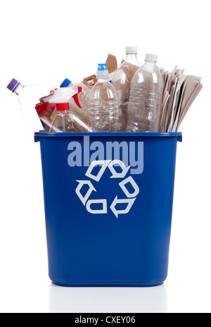 Blue recycle bin with plastic bottles and newspapers on a white background - Stock Photo