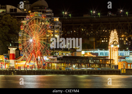 Sydney's Luna Park at Night Across Lavender Bay - Stock Photo
