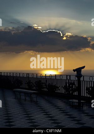 Sea view from terrace, Old town Taormina, Sicily - Stock Photo