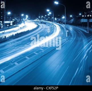 night traffic in modern city - Stock Photo