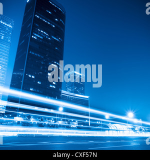 modern cityscape at night  in beijing - Stock Photo