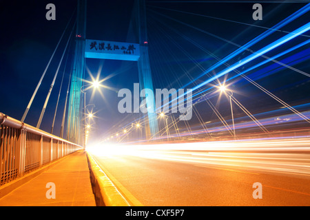 night traffic on the highway bridge - Stock Photo
