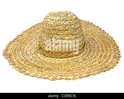 traditional ukrainian straw hat isolated on white - Stock Photo