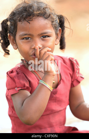 Little Indian girl silence please Andhra Pradesh South India - Stock Photo