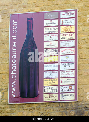 Adverts of winemakers Chateauneuf du Pape Provence France - Stock Photo