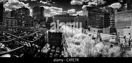 Black and white photo of the Highline Park in New York City - Stock Photo