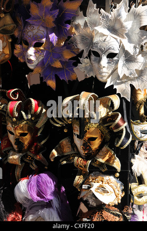 Various masks for sale in souvenir shop (Venice, Italy) - Stock Photo