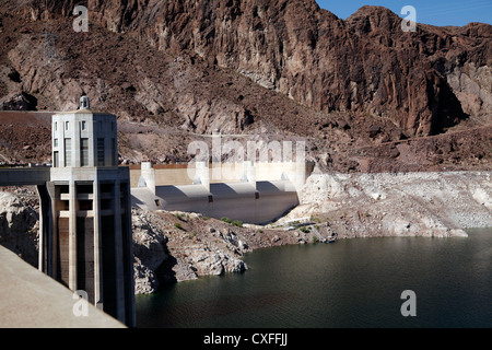 Shore of Lake Mead at Hoover Dam, Showing Penstock Tower on the Nevada Side - Stock Photo