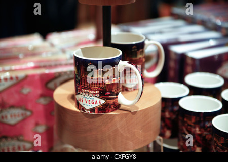 Souvenir Mugs Display in a Las Vegas, Nevada, USA, Gift Shop - Stock Photo