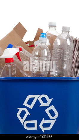 A blue recycle container full of plastic bottles and cardboard - Stock Photo