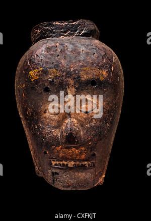 Mask 19th century  Republic of Timor Leste Culture East Timor Wood fiber pain, lime hair 22.9 cm - Stock Photo