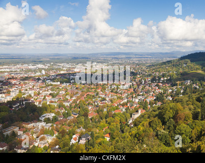 Panorma aerial view over town Freiburg im Breisgau in green valley, Germany - Stock Photo