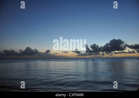 Barbados seascape evening dusk water reflections - Stock Photo
