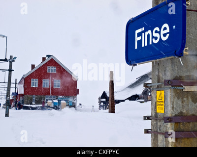 the railway station at Finse on the Oslo-Bergen line in Norway - Stock Photo
