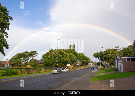 St Marks Church of England Marske by the Sea Cleveland with a double rainbow - Stock Photo