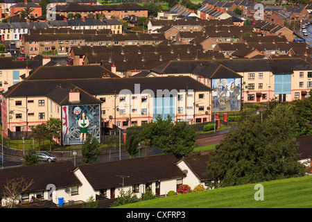 High view to Catholic Bogside or Nationalist area of city with murals on houses in Derry Co Londonderry Northern - Stock Photo