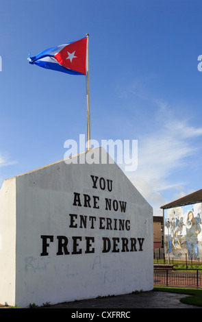 Street scene with Free Derry corner stone inscription in Derry, Co Londonderry, Northern Ireland, UK - Stock Photo
