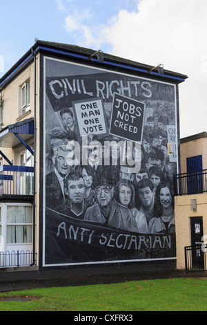 Civil Rights Mural painted on side of a house as part of people's gallery by Bogside artists in Derry Co Londonderry - Stock Photo