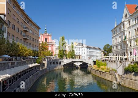 The Franciscan Church of the Annunciation, Triple Bridge, Ljubljana, Slovenia - Stock Photo
