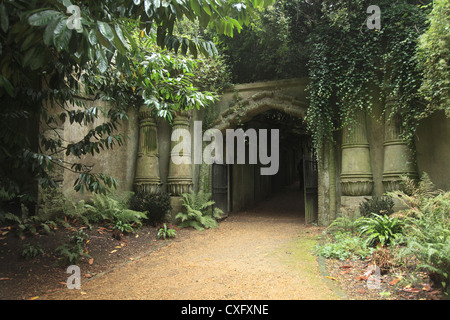 Egyptian Gate at the Highgate Cemetery West in London England - Stock Photo