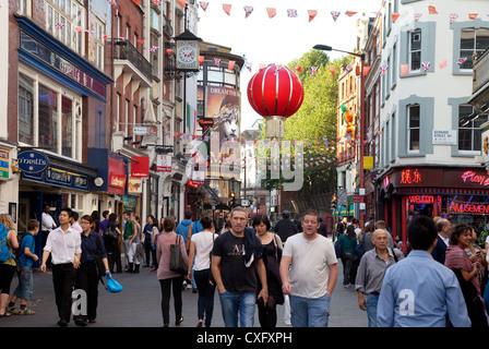 Wardour Street scene, Chinatown London W1 UK Europe - Stock Photo