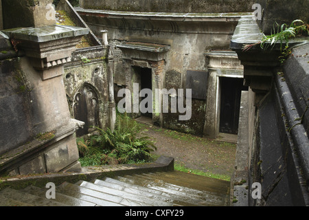'Circle of Lebanon Vaults' at the Highgate Cemetery West in London England - Stock Photo