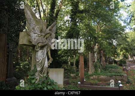 The Highgate East Cemetery in London England - Stock Photo