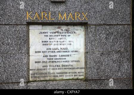 Karl Marx Grave inscription at Highgate Cemetery London - Stock Photo