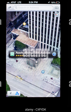 Apple Store Glass Cube on a Fifth Ave shown in Maps app on the screen of a new iPhone 5/iOS 6 - Yelp reviews, 3D - Stock Photo