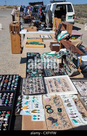 Native American Craft Vendors near Taos, New Mexico - Stock Photo