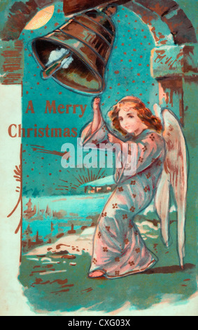 A Merry Christmas - Angel ringing bell to celebrate Christmas - Vintage card - Stock Photo