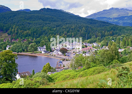 Looking down on village of Lochgoilhead, Loch Goil, Drimsynie holiday lodges on left, Ardgoil, Argyll Forest Park, - Stock Photo