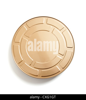 Gold movie film canister on a white background - Stock Photo