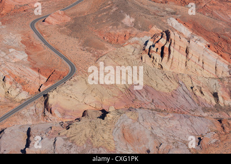 VALLEY OF FIRE STATE PARK (aerial view). Winding road in a colorful sandstone formation, southern Nevada, USA. - Stock Photo