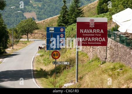 Spanish border at Navarra in the Pyrenees Mountains - Stock Photo
