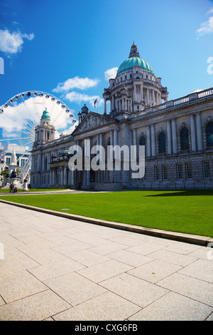 Belfast City Hall and Ferris wheel - Stock Photo