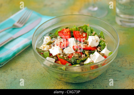 Salad with feta cheese. Recipe available - Stock Photo