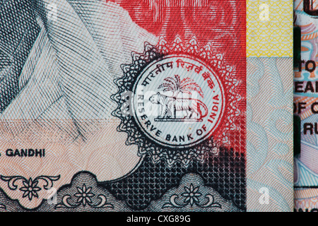 Reserve bank of india seal on an Indian thousand rupee notes - Stock Photo
