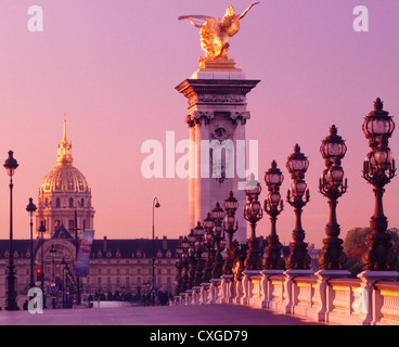 Sunrise at Pont Alexandre III and Hotel des Invalides - Stock Photo