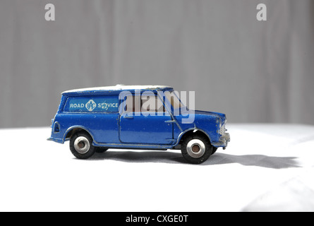 Dinky toy RAC Mini van vehicle UK close up made in the 1960s - Stock Photo