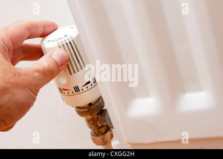 temperature control valve on a radiator - Stock Photo