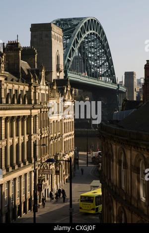 Newcastle upon Tyne's iconic Quayside and Tyne Bridge - Stock Photo