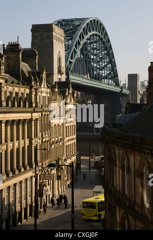 Newcastle upon Tyne's iconic Tyne Bridge and Quayside from Dean Street - Stock Photo