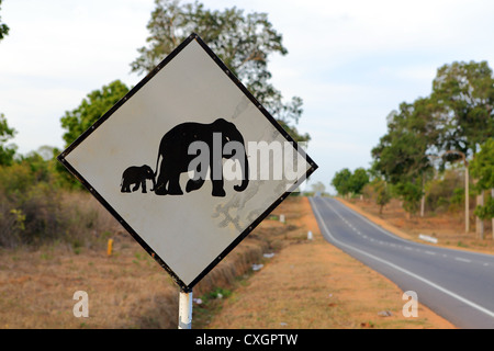 Elephant crossing road sign near Anuradhapura on the A12 highway in Sri Lanka. - Stock Photo