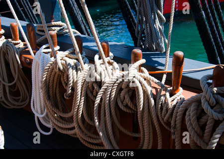 Ropes on Tall Sailing Ships in Harbour of San Diego California USA - Stock Photo